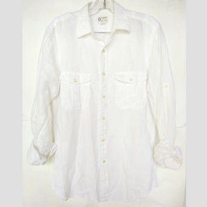 J. Crew White Linen Shirt Button Down Sz Small